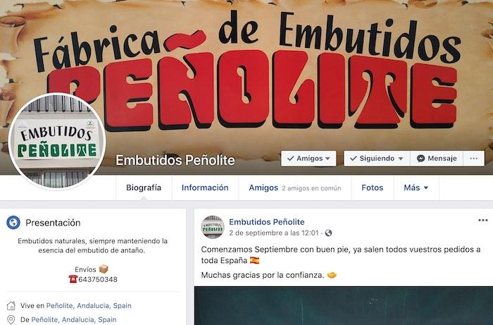 Perfil de Embutidos Peñolite en Facebook